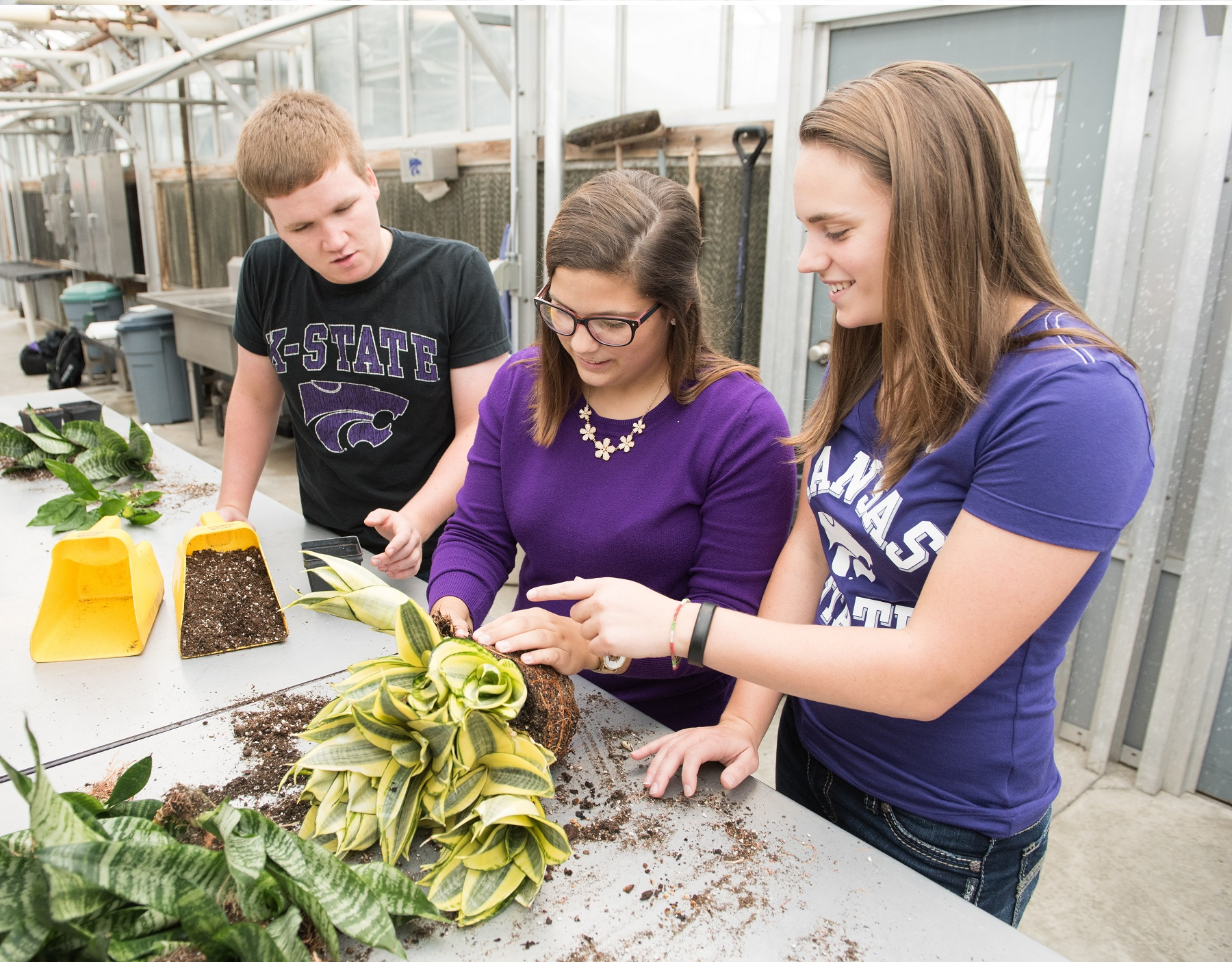 Ag Education Students in the Greenhouse